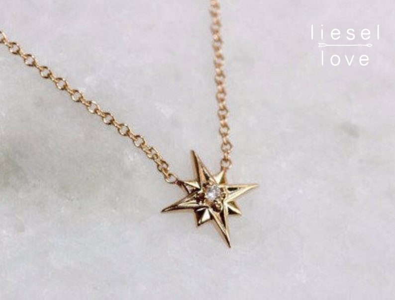 14K Gold Star Necklace North Star Necklace Solid image 0