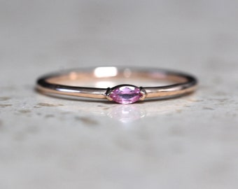 """14K Gold Marquise Pink Sapphire Ring, """"Wink"""" Ring, Stacking Ring, Midi Ring, Promise Ring, Pink Stone Ring, September Birthstone"""