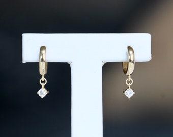 14K Gold White Sapphire Hoop, Dangle Hoop, Wrap Around Stud, Loop Earring, Gemstone Hoop Earring, Hugging Hoop