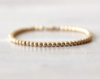 Beaded 14K Gold Filled Bracelet, Smooth Beaded Bracelet, Gold Bead Bracelet, Stacking Bracelet, Real Gold, 3mm Beads, Layering Beads