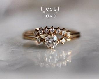 """14K Gold & Diamond """"Crown"""" Wedding Ring Set"""