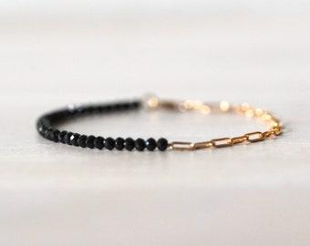 Black Spinel 14K Gold Filled Bracelet, Half Chain Half Beaded Bracelet, Gemstone Bracelet, Paperclip Chain, Black Stone, Black and Gold