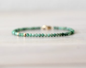 Emerald 14K Gold Filled Bracelet, Green Beaded Bracelet, Gemstone Bracelet, Gemstone Beads, May Birthstone, Faceted Emerald