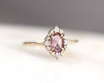 14K Gold Oval Halo Ring, Halo Cabochon Ring, Cluster Ring, Moonstone Ring, Opal, Aquamarine, Pink Sapphire, Diamonds, Solid Gold