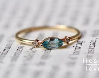 "14K Gold Blue Zircon Diamond ""Shimmer"" Ring"