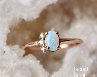 "14K Gold Opal Diamond ""Lace"" Ring"