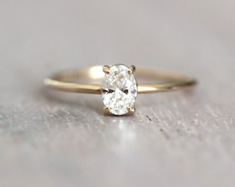 14K Gold Oval Diamond Ring, Oval Solitaire Ring, Sold Gold Ring, Handcrafted, Minimal Engagement Ring, Oval Engagement Ring, Low Profile