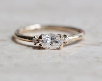 14K Gold East West Moissanite Ring