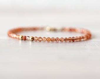 Sunstone 14K Gold Filled Bracelet, Gemstone Beaded Bracelet, Gemstone Bracelet, Orange Stone, Natural Sunstone, Gold and Orange Bracelet