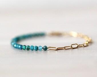 Apatite 14K Gold Filled Bracelet, Half Chain Half Beaded Bracelet, Gemstone Bracelet, Paperclip Chain, Teal Stone, Unique Gemstone Bracelet