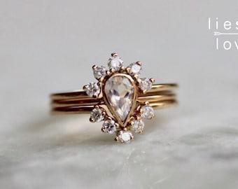 "14K Gold Moonstone ""Jubilee"" Wedding Ring Set"