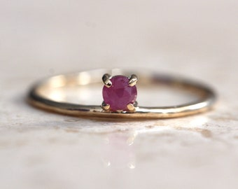 """14K Gold Ruby Ring, """"Dove"""" Ring, Floating Stone, Red Stone Ring, Solid Gold, Rose Cut Stone, Stacking Ring, July Birthstone, Promise Ring"""