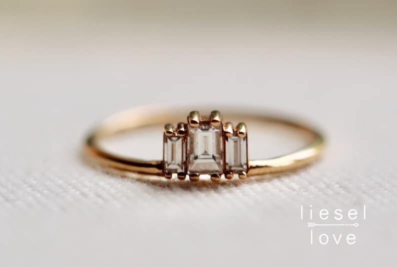 14K Gold Baguette Diamond Ring Empire Ring image 0