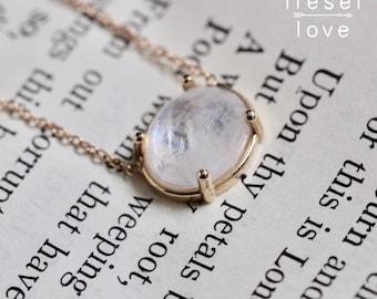 """14K Gold Moonstone """"Prism"""" Necklace"""