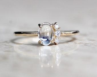 "14K Gold Moonstone Diamond ""Lace"" Ring"