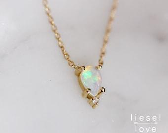"""14K Gold Opal Diamond """"Unicorn Tears"""" Necklace"""