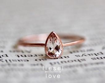 """14K Gold Pear Morganite """"Rarity"""" Ring"""