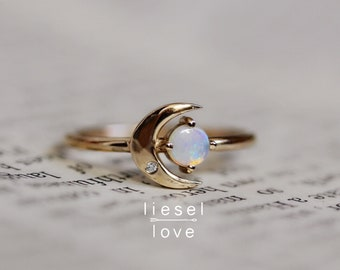 "14K Opal & Diamond ""Moon of My Life"" Ring"