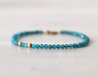 Apatite 14K Gold Filled Bracelet, Teal Stone Beaded Bracelet, Gemstone Bracelet, Gemstone Beads, Teal Stone, Unique Gemstone Bracelet
