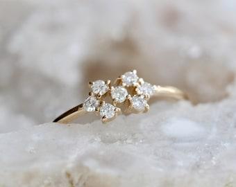 "14K Gold Diamond ""Honeycomb"" Ring"