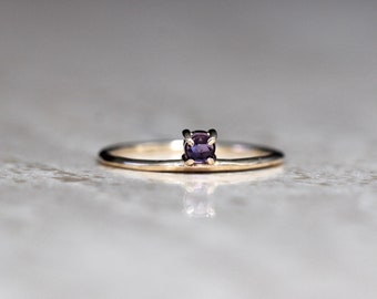 """14K Gold Amethyst Ring, """"Dove"""" Ring, Floating Stone, Purple Stone Ring, Solid Gold, Rose Cut Stone, Stacking Ring, February Birthstone"""