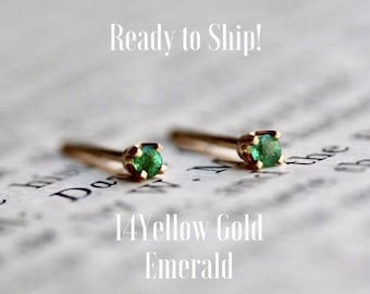 Ready to Ship, 14K Yellow Gold & Emerald Studs, Gold Studs, Green Stone, Gifts for Her, Ready Made, Handmade, Holiday Gifts, Boho, Chic