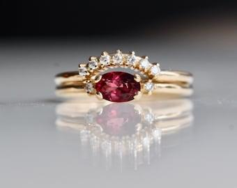 14K Gold Rhodolite Garnet Diamond Bridal Set