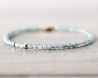 Aquamarine 14K Gold Filled Bracelet, Light Blue Beaded Bracelet, Gemstone Bracelet, Gemstone Beads, March Birthstone, Faceted aquamarine