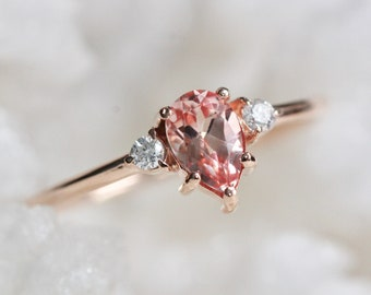 14K Pear Champagne Sapphire Three Stone Ring