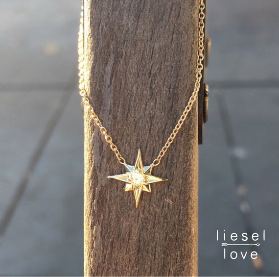 14K Gold Star Necklace,
