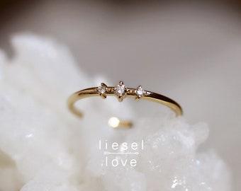 "14K Gold Three Stone Diamond ""Snow Dance"" Ring"