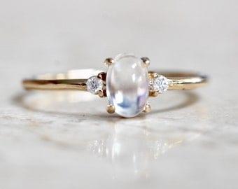 14K Gold Moonstone Diamond Ring