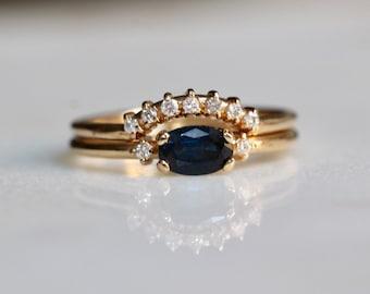 14K Gold Blue Sapphire Diamond Bridal Set