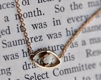 """14K Gold Opal """"Evil Eye"""" Necklace"""
