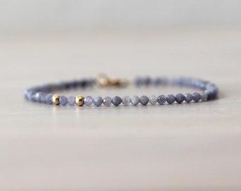 Tanzanite 14K Gold Filled Bracelet, Purple Beaded Bracelet, Gemstone Bracelet, Gemstone Beads, December Birthstone, Faceted Tanzanite