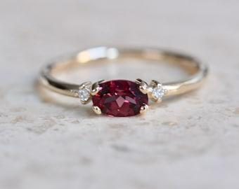 14K East West Garnet Diamond Ring