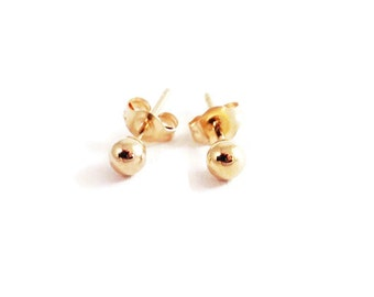 14k Ball Studs, 3mm, Circle Studs, Tiny Stud, Yellow Gold, Real Gold, Post Earring, Solid 14k Gold, Second Hole Stud,