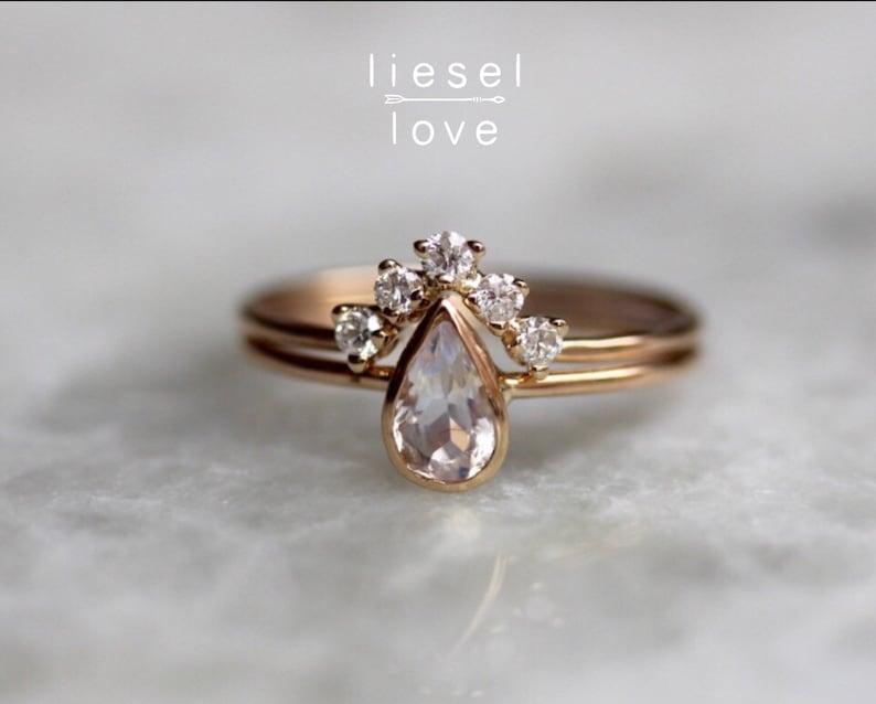 14K Gold Moonstone Pear Engagement Ring Set Royal image 1