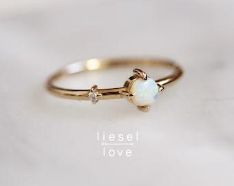 """14K Gold Opal Diamond """"Sidekick"""" Ring"""