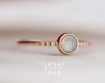 """14K Gold Opal Bezel & Pavé Diamond """"Dreamy"""" Ring"""