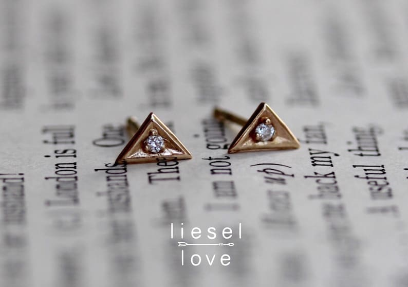 d645ddd82 14K Gold Diamond Triangle Studs Triangle Earrings Diamond | Etsy