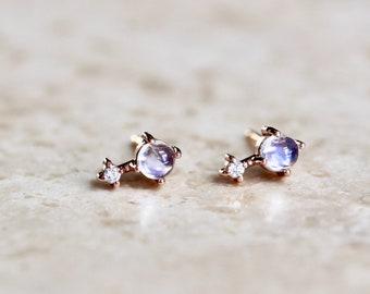 """14K Gold Moonstone & Diamond """"Love Drop"""" Earrings"""