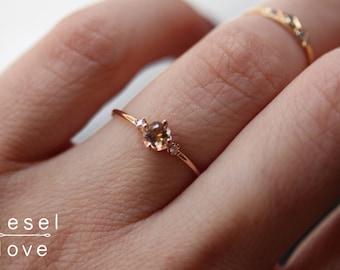"14K Gold Morganite Diamond ""Peony"" Ring"