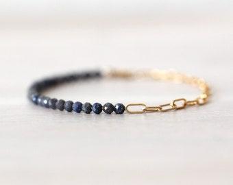 Sapphire 14K Gold Filled Bracelet, Half Chain Half Beaded Bracelet, Gemstone Bracelet, Paperclip Chain, Blue Stone, Natural Sapphire