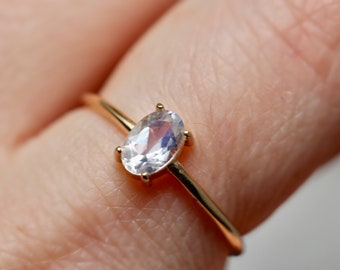 14K Gold Oval Moonstone Solitaire