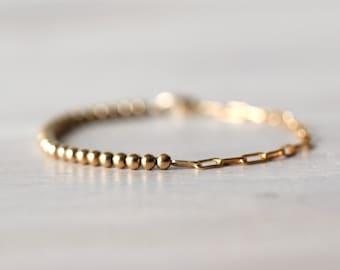 14K Gold Filled Bracelet, Half Chain Half Beaded Bracelet, Gold Bead Bracelet, Paperclip Chain, Real Gold, Stacking Bracelet