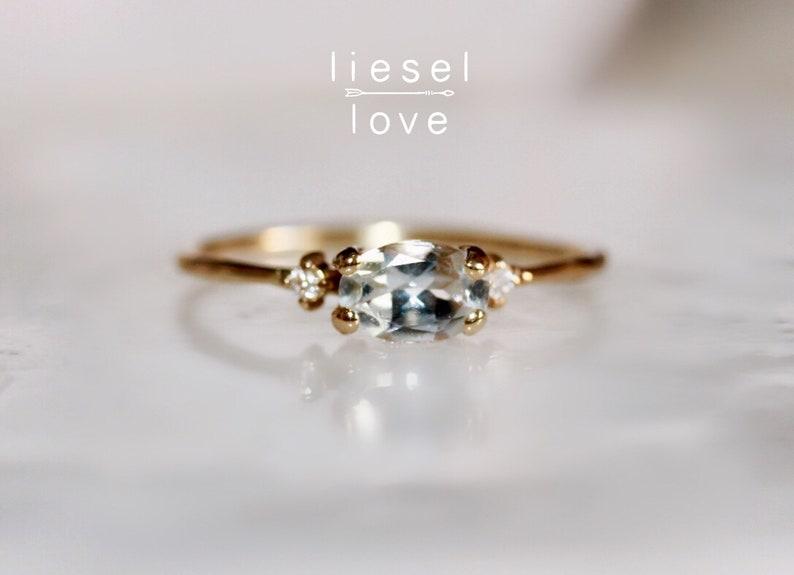 14K Gold Aquamarine Diamond Ring Mermaid Ring image 0