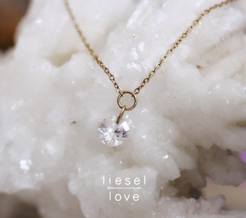 14K Gold White Topaz Necklace Falling Star image 0