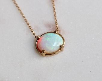 "14K Gold Opal Necklace, ""Prism"" Necklace, Layering Necklace ,Opal Jewelry, Oval Stone Necklace, October Birthstone"