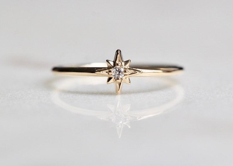 14K Gold Diamond Ring North Star Ring Astrology image 0